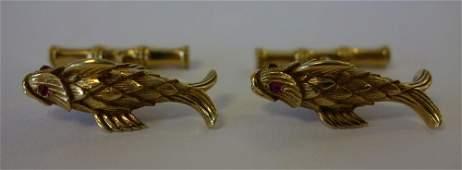 Tiffany Schlumberger 18K Gold  Ruby Cufflinks
