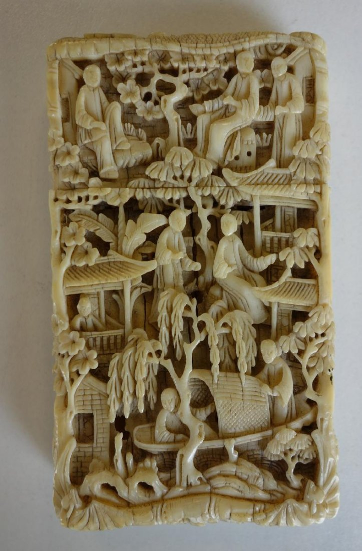 19thc Chinese Carved Ivory Card Case
