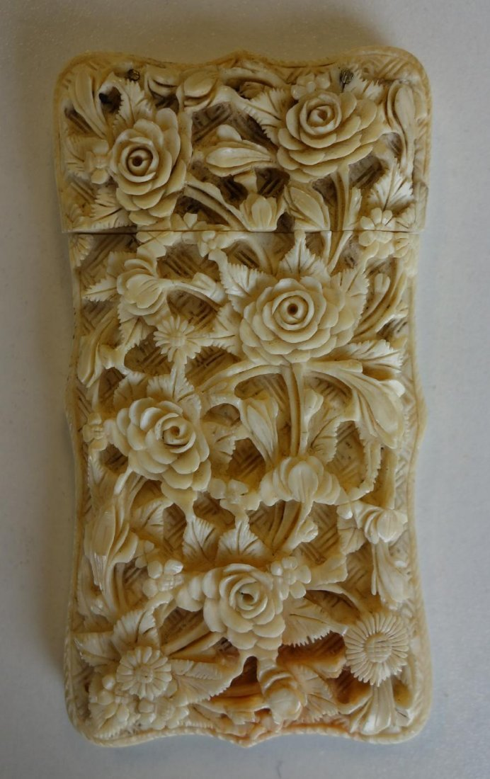 Chinese Carved Ivory Card Case, Flowers & Figures