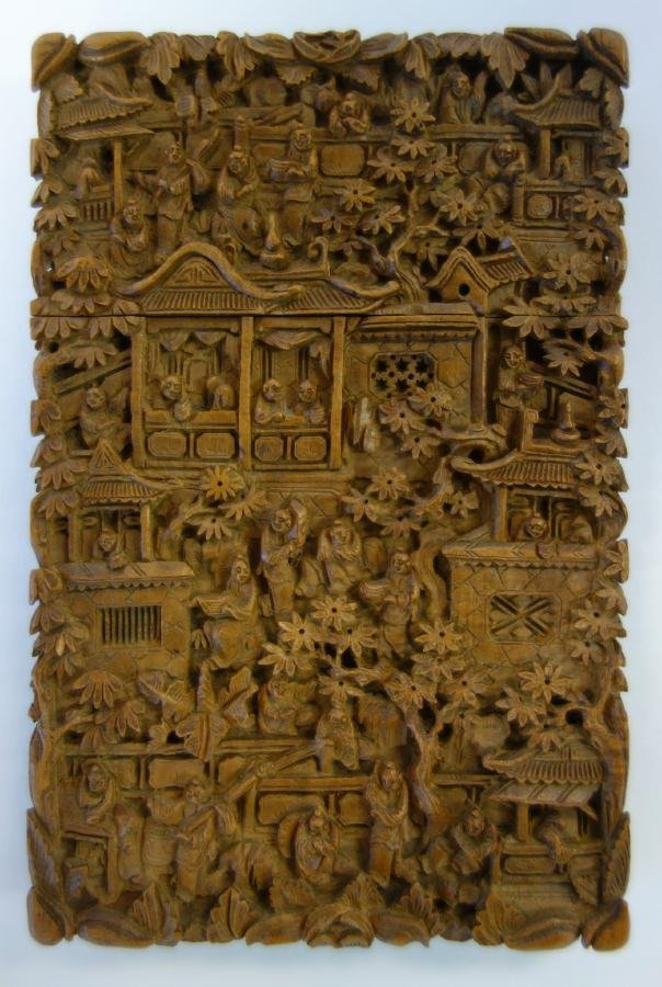 19thc Chinese Carved Sandalwood Card Case