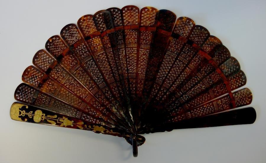 Chinese Tortoiseshell & Gold Lacquer Fan