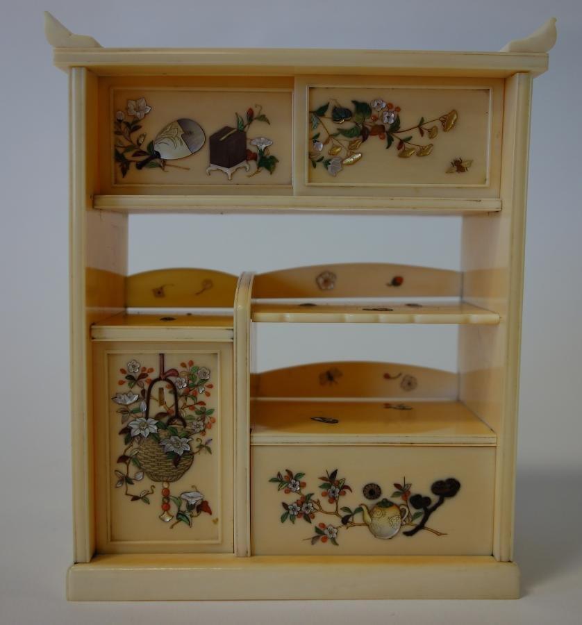 Japanese Ivory & Shibayama Miniature Cabinet