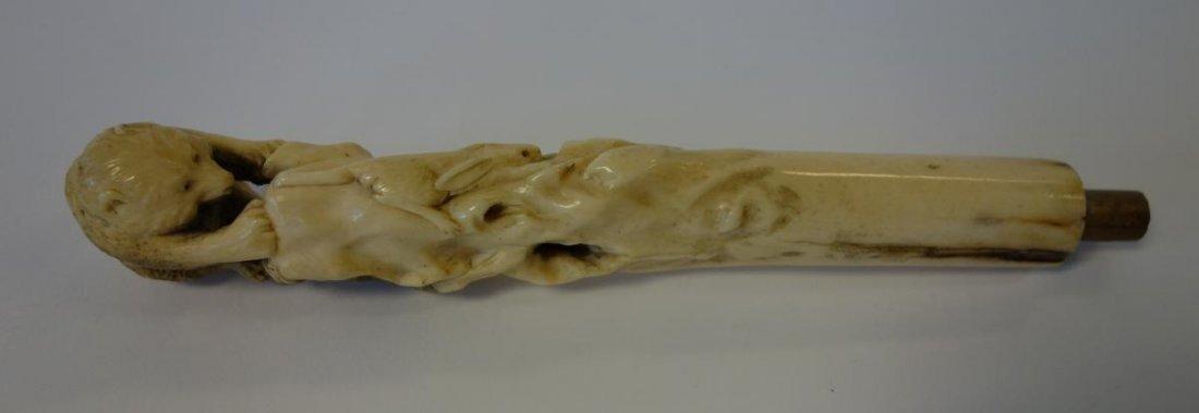 Japanese Bone Cane Handle, Bear & Rabbit, signed