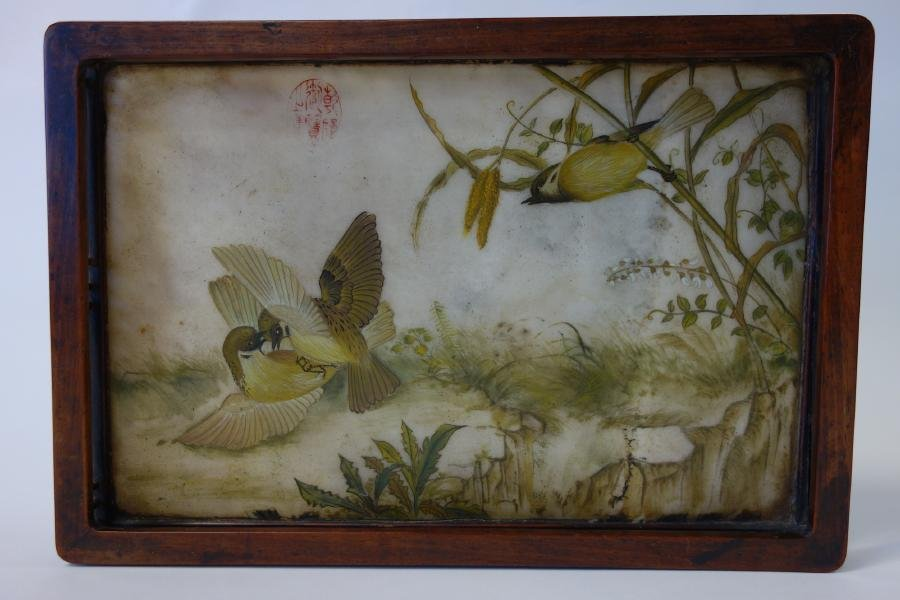 Chinese Painting on Stone in Tray, Signed