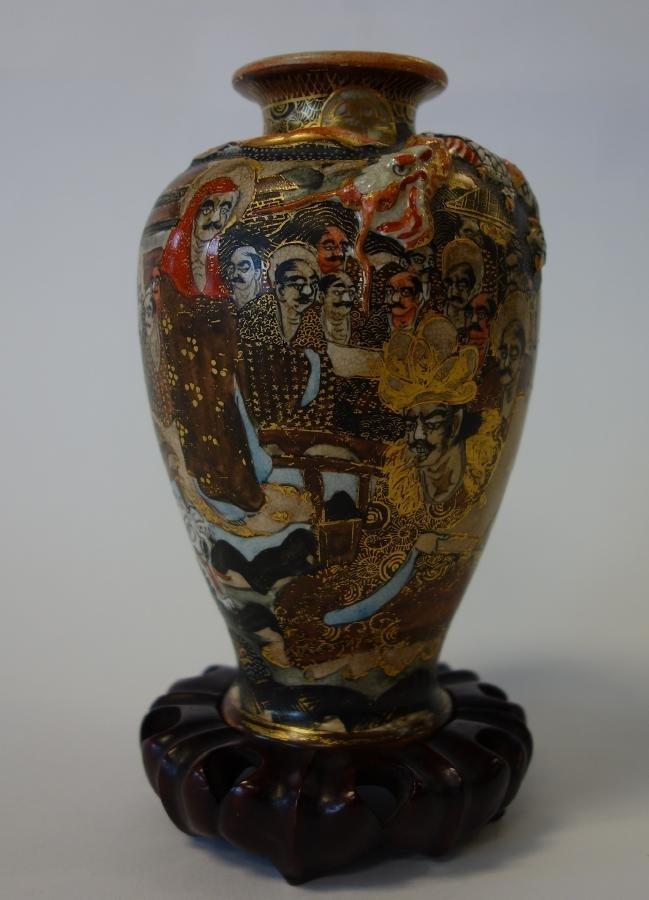 Japanese Satsuma Vase, Moriage Dragon & Gods