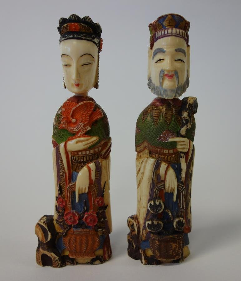 2 Carved Polychrome Ivory Opium Snuff Bottles
