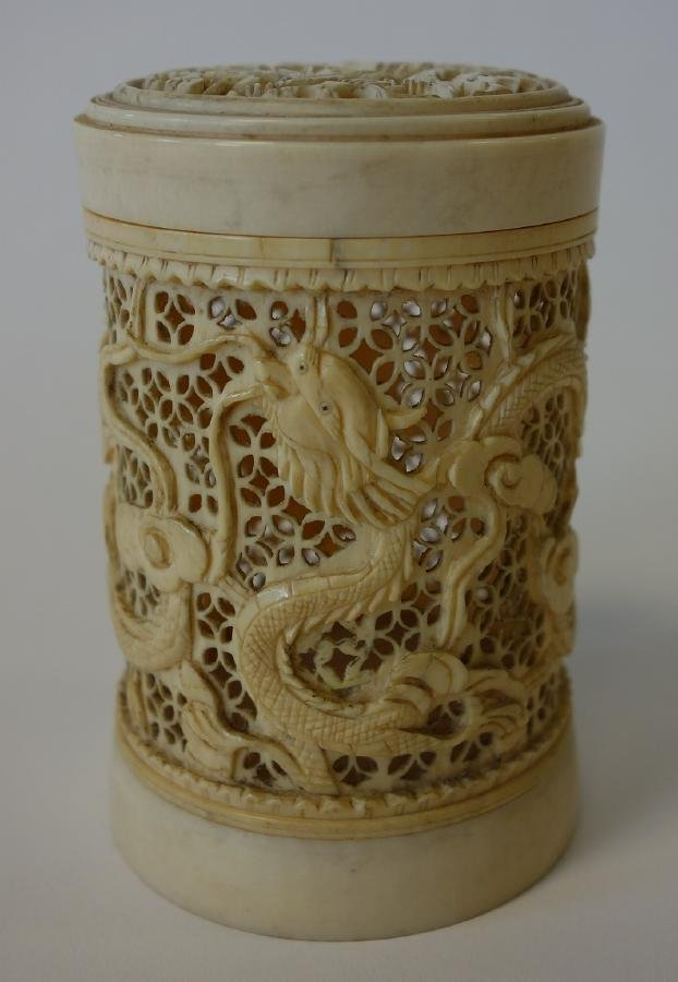 19thc Chinese Ivory Pomander, Carved & Pierced