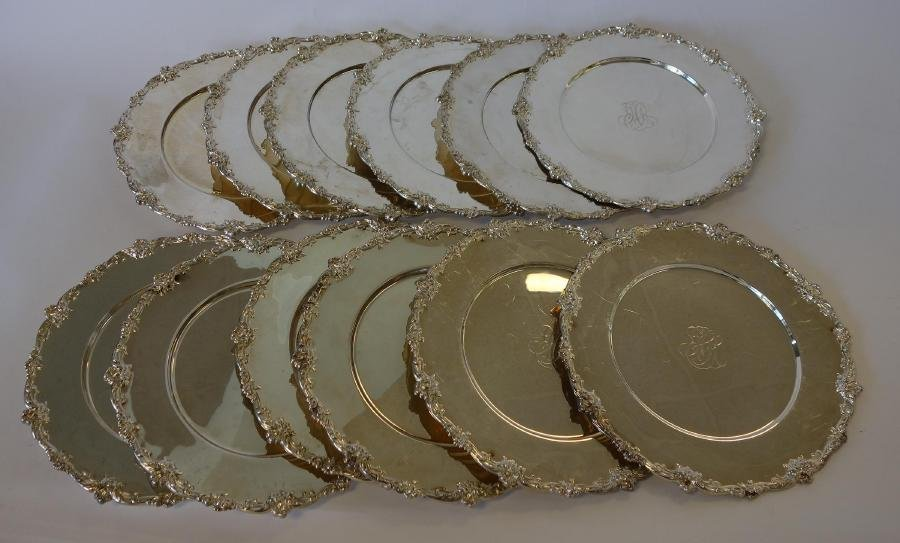 12 Gorham Sterling Charger Plates