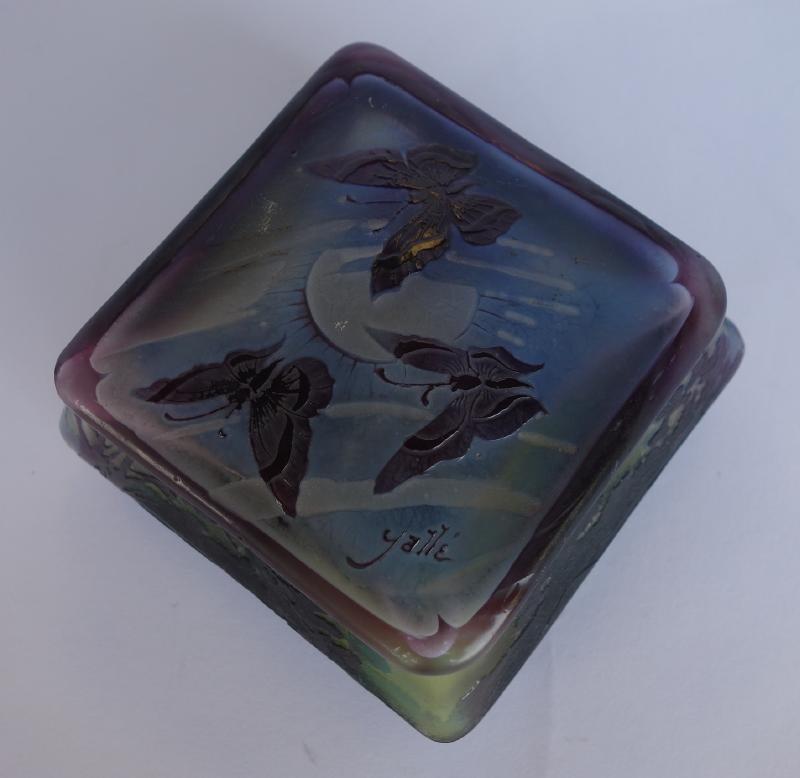 Emile Galle Landscape Cameo Glass Box