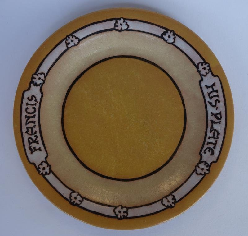 """Saturday Evening Girls """"His Plate"""" Decorated Plate"""