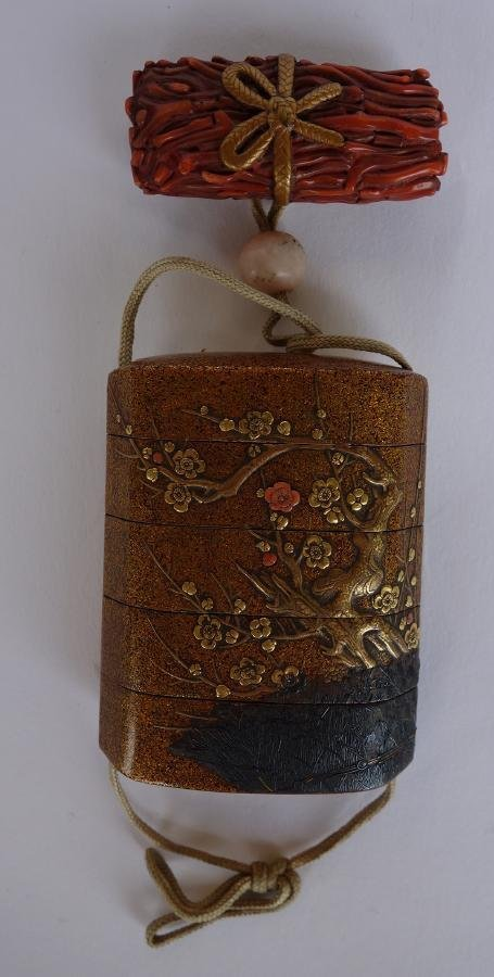 Japanese Gold Lacquer & Coral 4 Case Inro