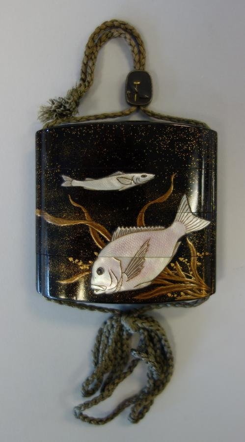 Japanese 3 Case Lacquer Inro, Fish Motif