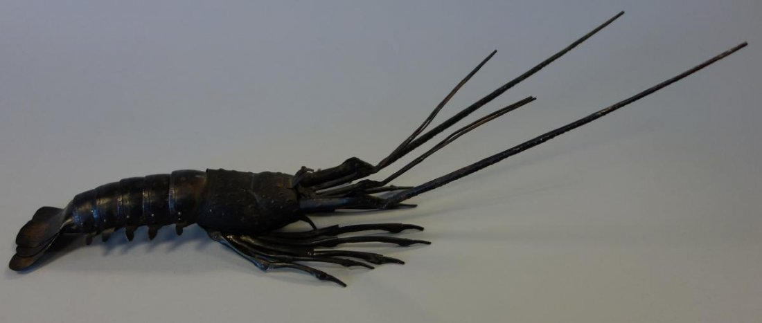 """Japanese Articulated Iron Lobster, Signed, 15.25"""""""