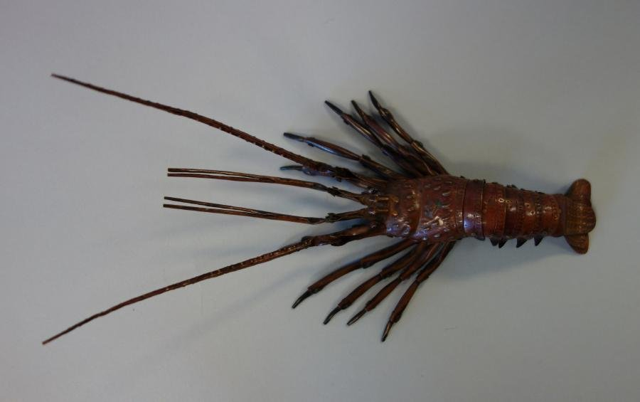 """Japanese Articulated Copper Lobster, Signed, 7"""""""