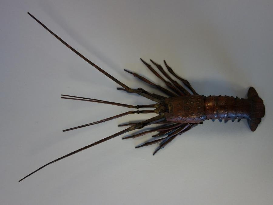 """Japanese Articulated Copper Lobster, 9.5"""", signed"""