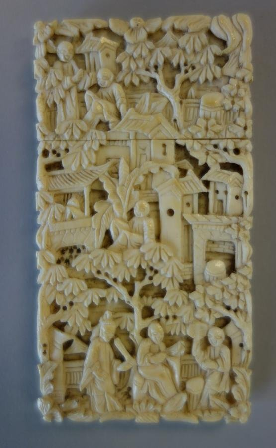 19thc Chinese Carved Ivory Calling Card Case