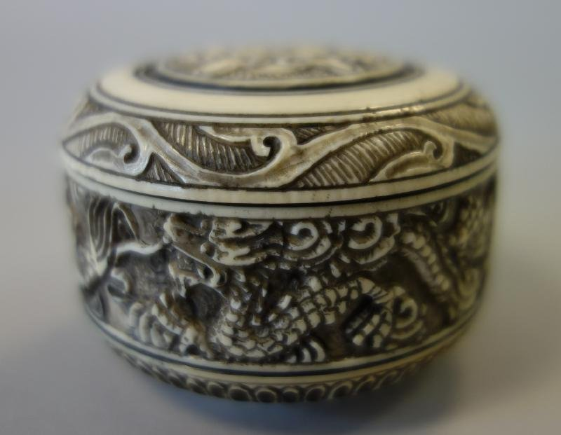 Chinese Carved Ivory Lidded Canister Box, Signed.