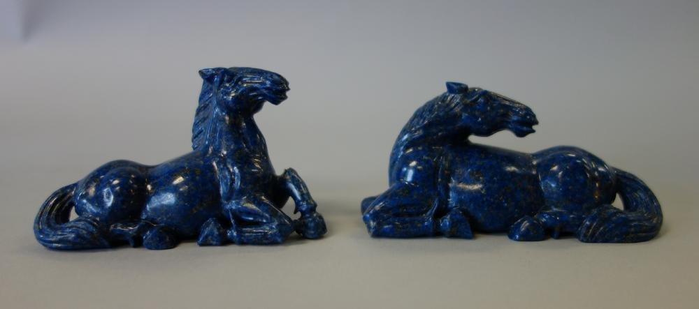 Chinese Lapis Lazuli Carved Horses