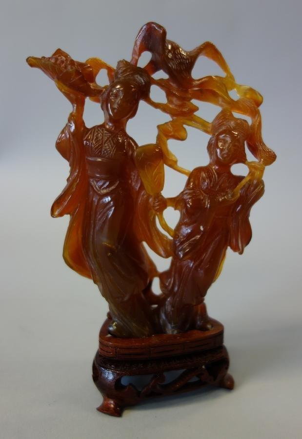 Chinese Agate Carving, Female Deities