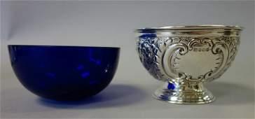 Sheffield Sterling Bowl & Cobalt Liner