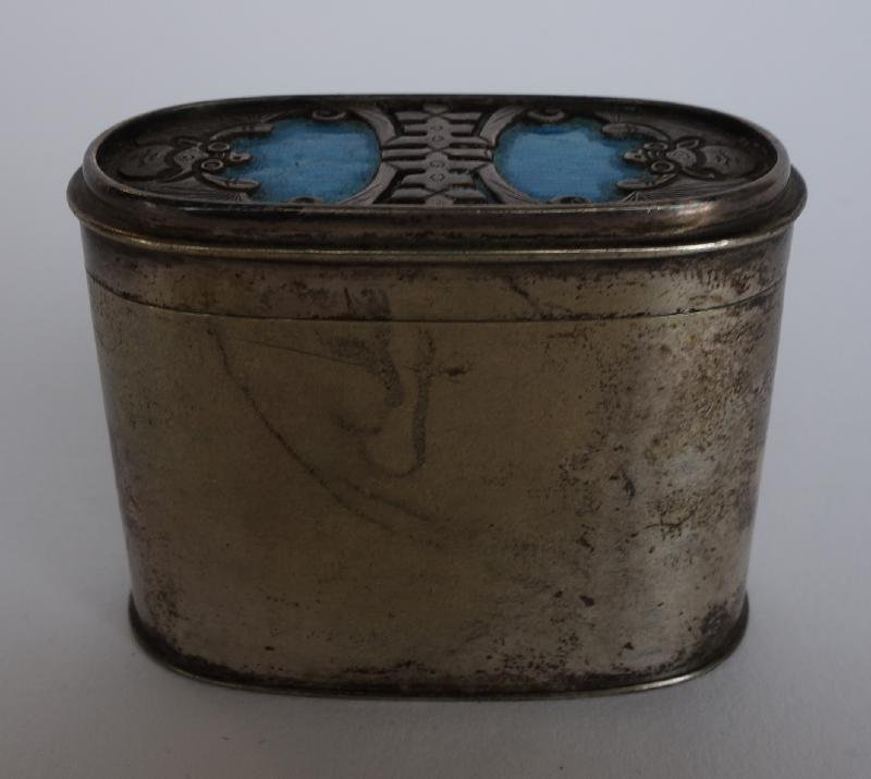 Chinese Silver & Enamel Canister Box, Signed