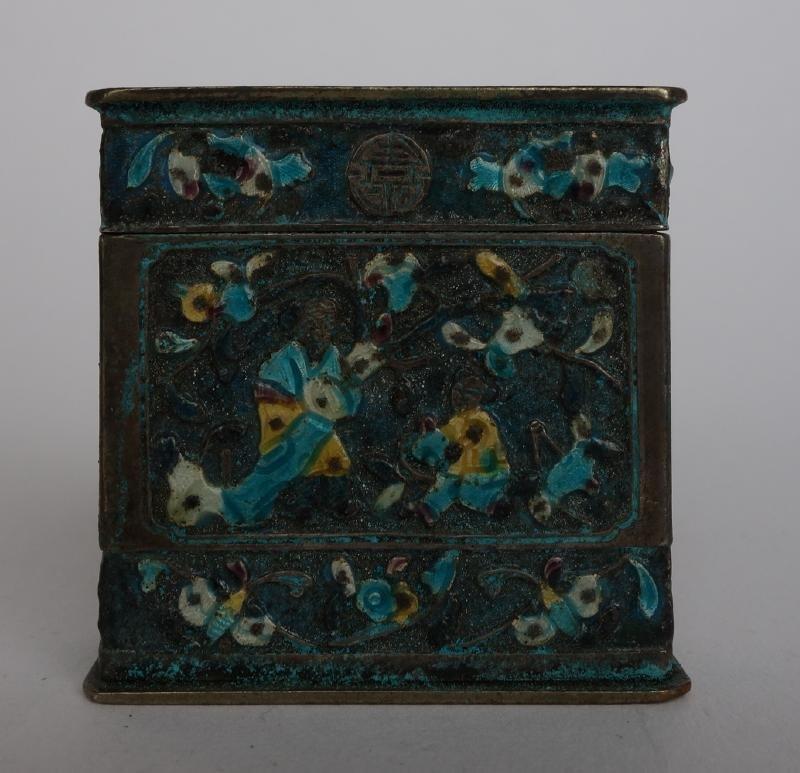 Chinese Silver & Enamel Box, Signed