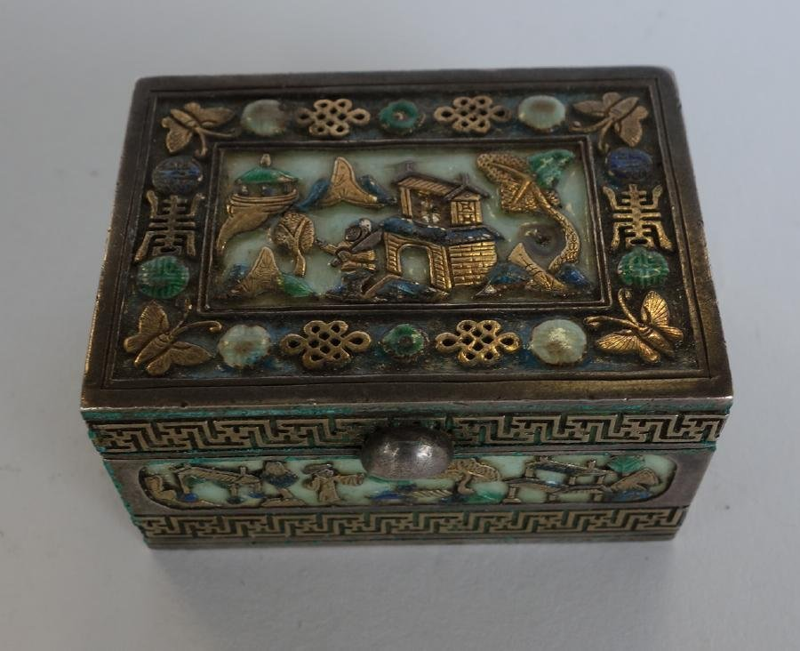 Chinese Gilt Silver & Enamel box, Signed