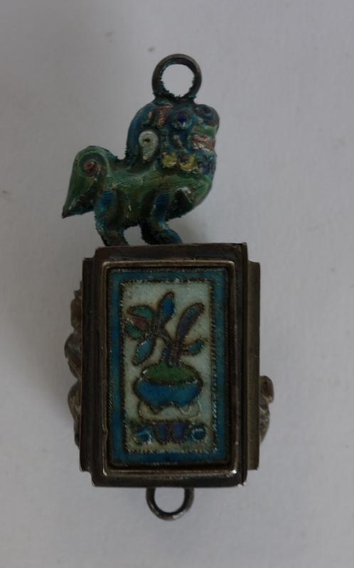 Chinese Silver & Enamel Pendant Box