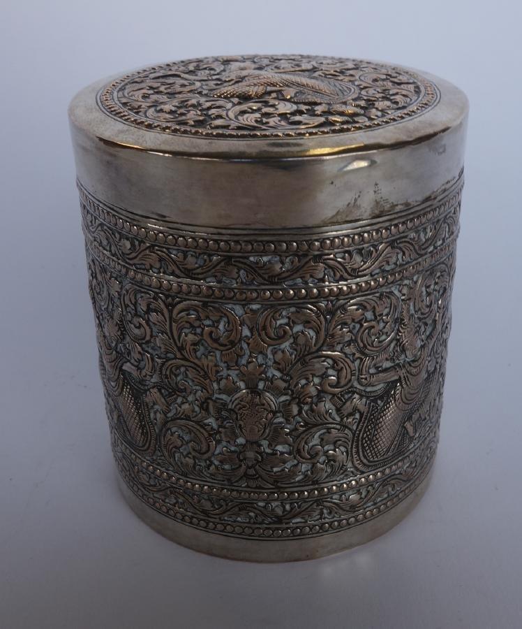 Angkor Cambodia Silver Canister Box