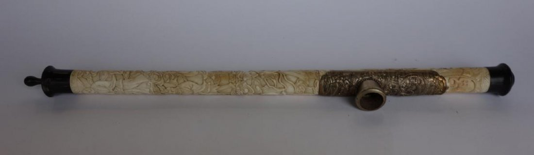Chinese Carved Ivory / Bone Opium Pipe, 8 Immortals