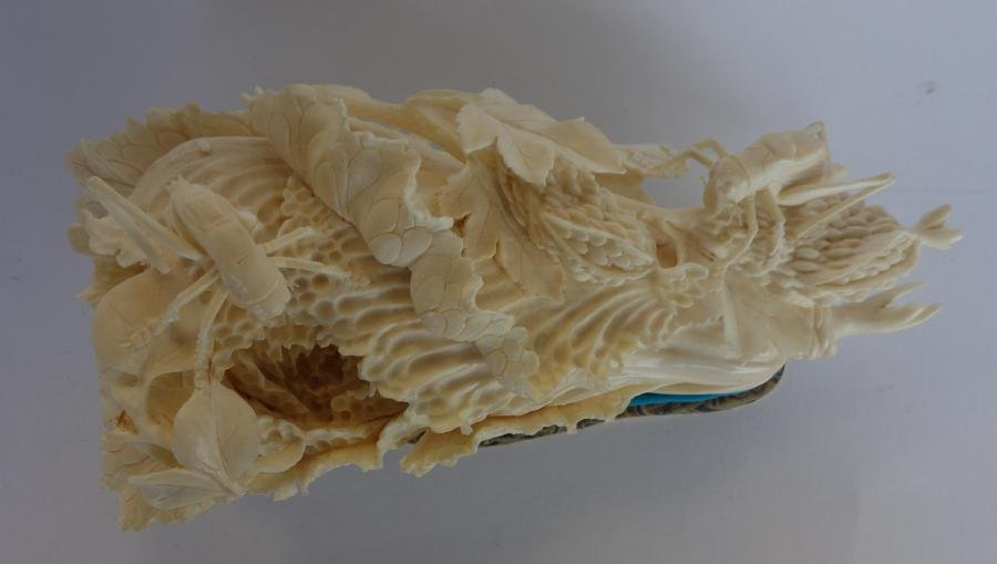 Chinese Ivory Cabbage Carving, Grasshoppers + - 3
