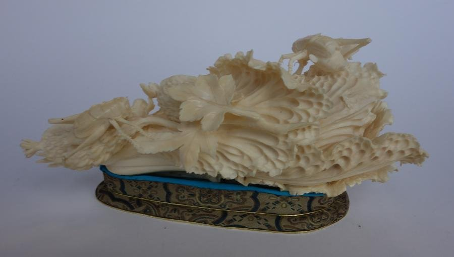 Chinese Ivory Cabbage Carving, Grasshoppers + - 4
