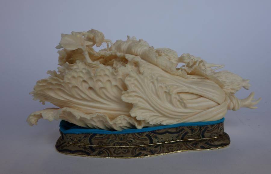 Chinese Ivory Cabbage Carving, Grasshoppers + - 6