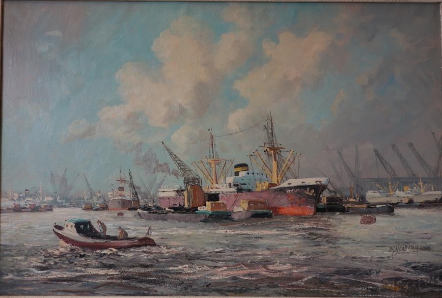 M. Headermann, Shipyard Harbor Oil on Canvas