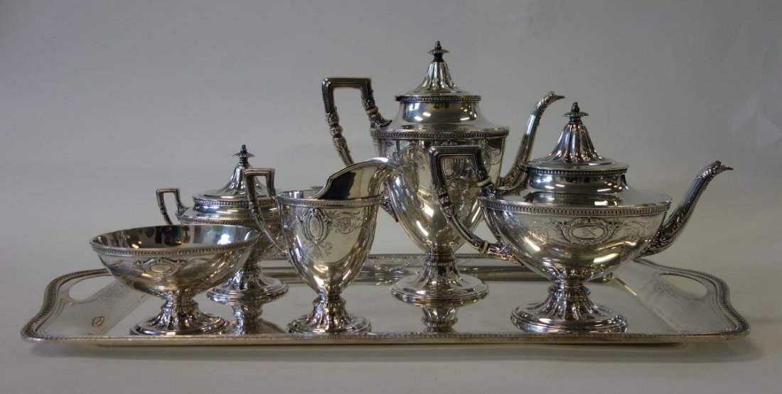 R Wallace & Sons Sterling Coffee Service + Tray