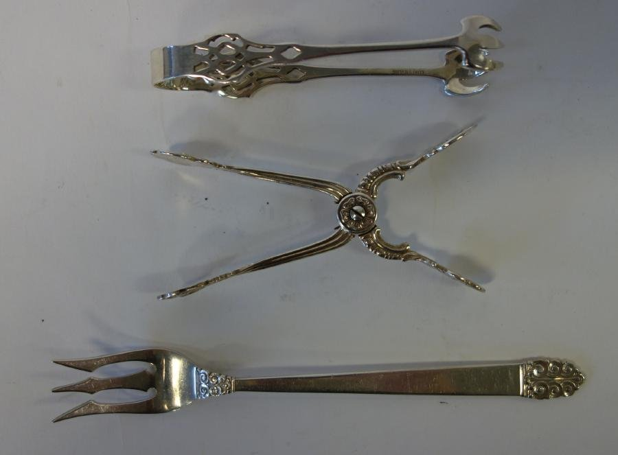 Sterling Pickle Fork & 2 pair of Tongs