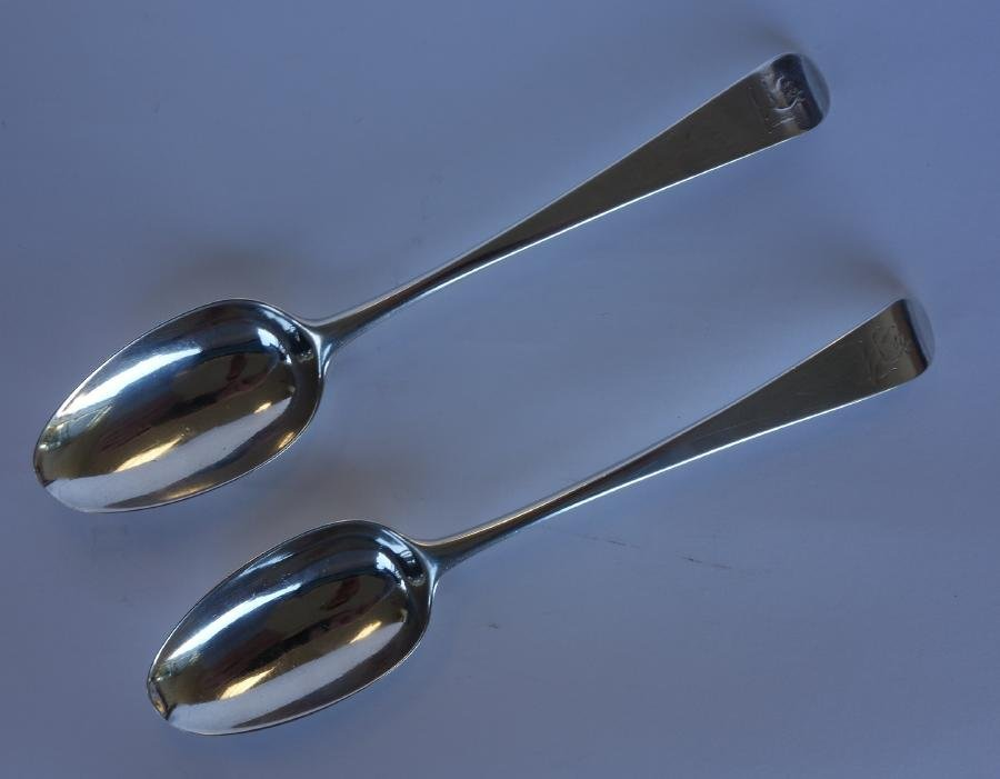 2 English Sterling Tablespoons, London, 1774