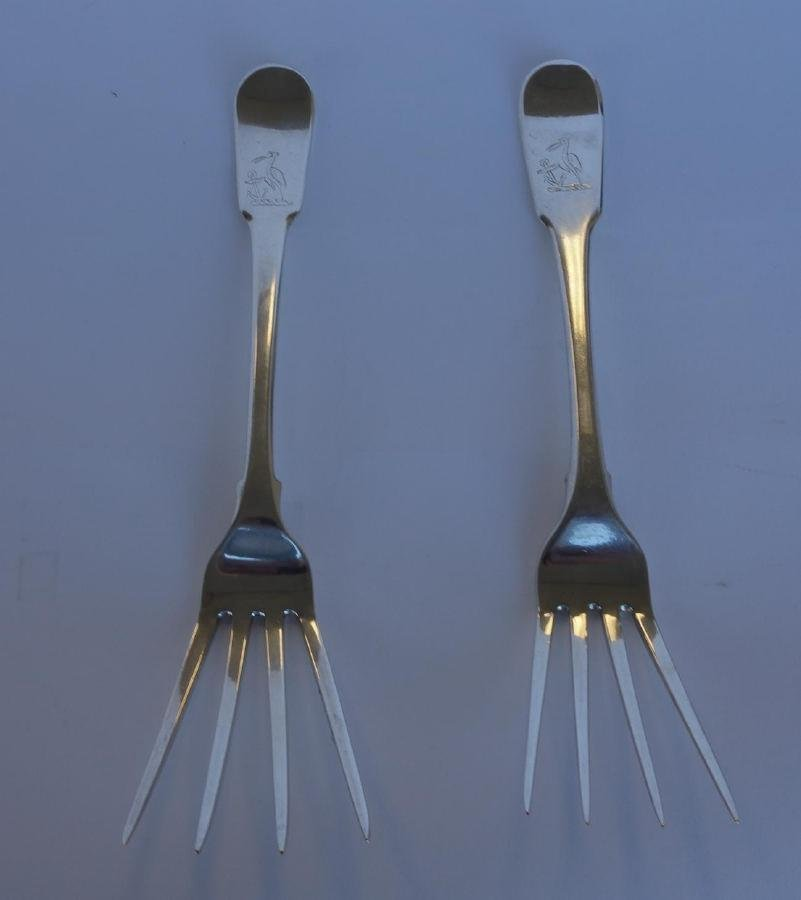 2 Sterling Serving Forks, Bateman, Peter & William