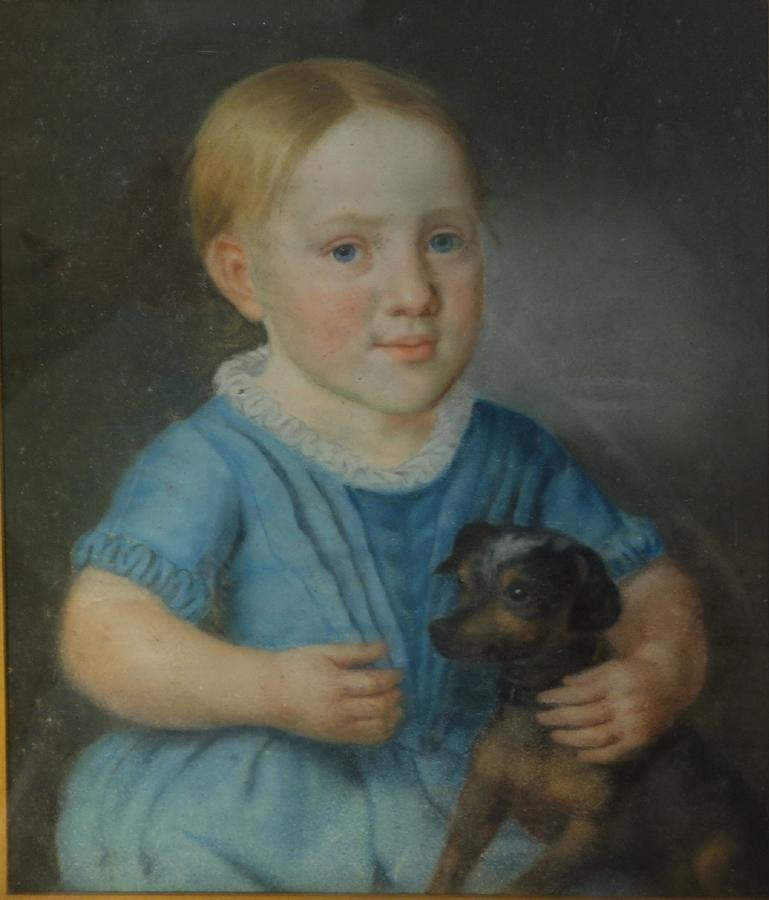 19thc British School Painting, Boy with Dog