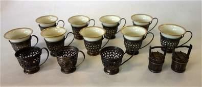 12 Gorham Sterling Demitasse Holders Lenox Cups