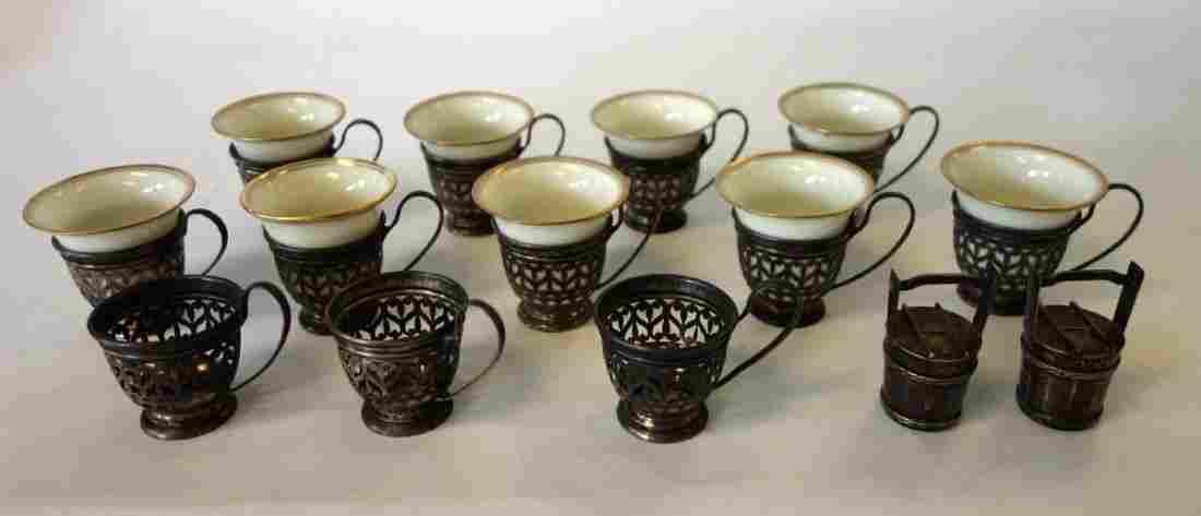12 Gorham Sterling Demitasse Holders, Lenox Cups +