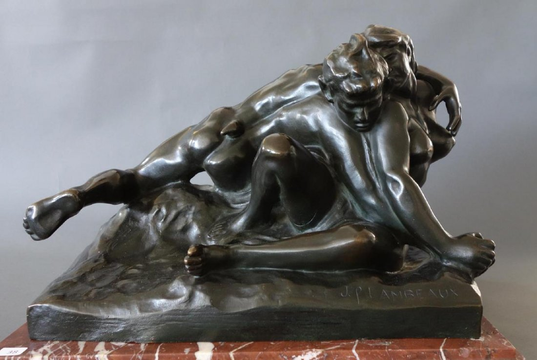 Jef Lambeaux (1852-1908) Bronze, Satyr & Nymph - 2