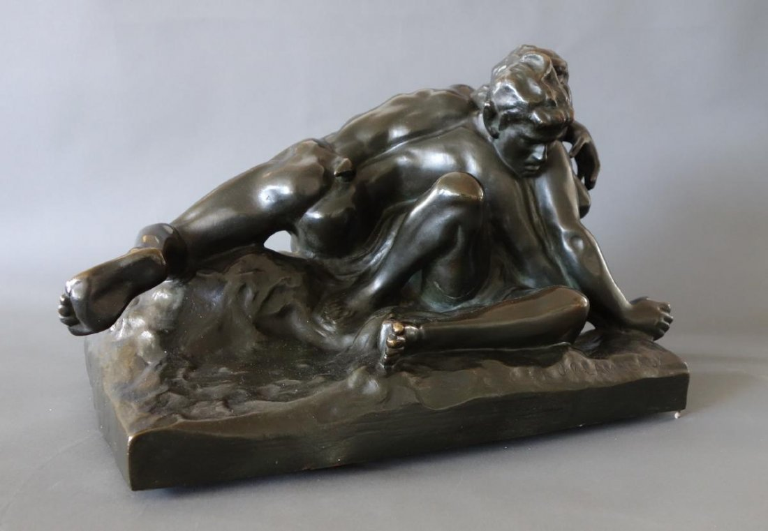 Jef Lambeaux (1852-1908) Bronze, Satyr & Nymph - 7