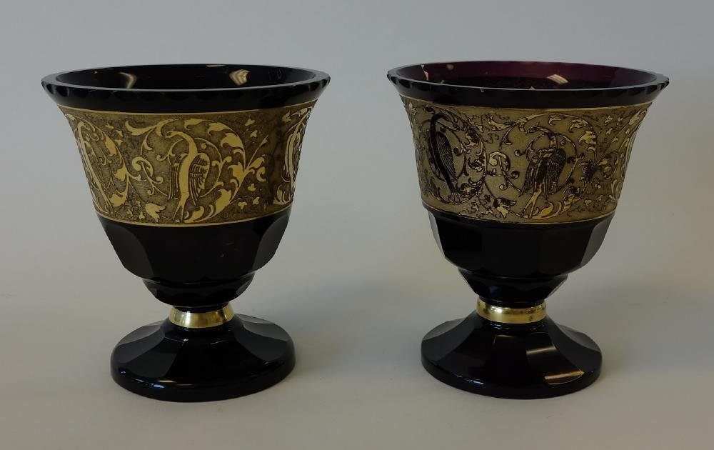 Moser Style Amethyst Glass Vases with Gold Frieze