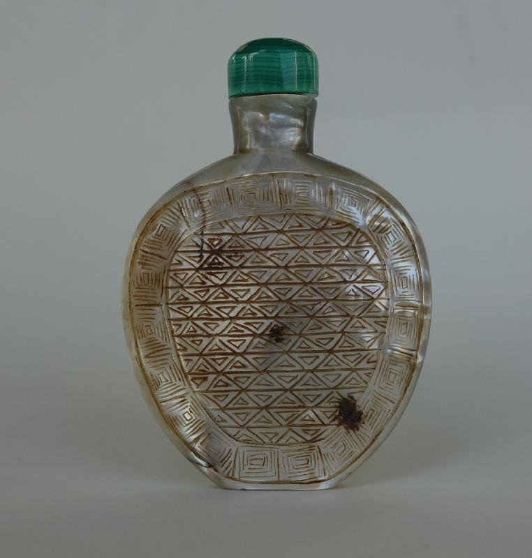 Chinese Etched Mother of Pearl Snuff Bottle