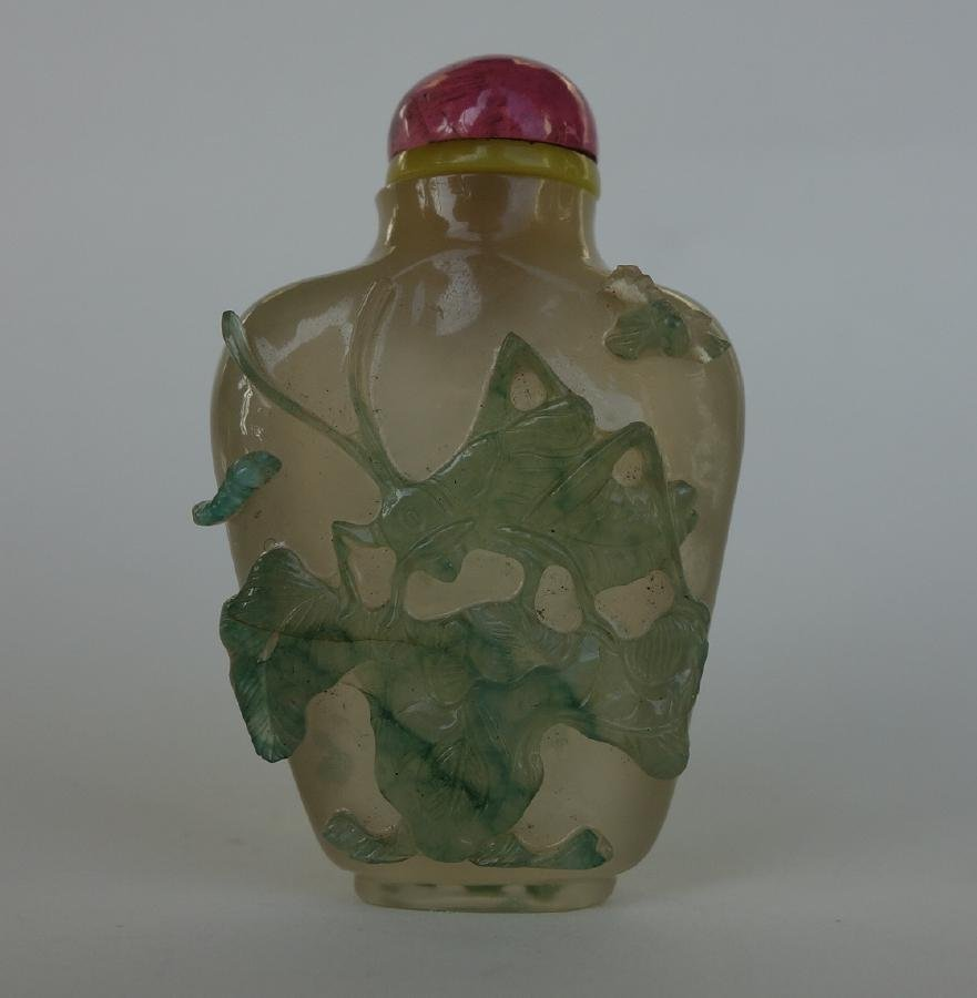 Chinese Overlay Cameo Glass Snuff Bottle