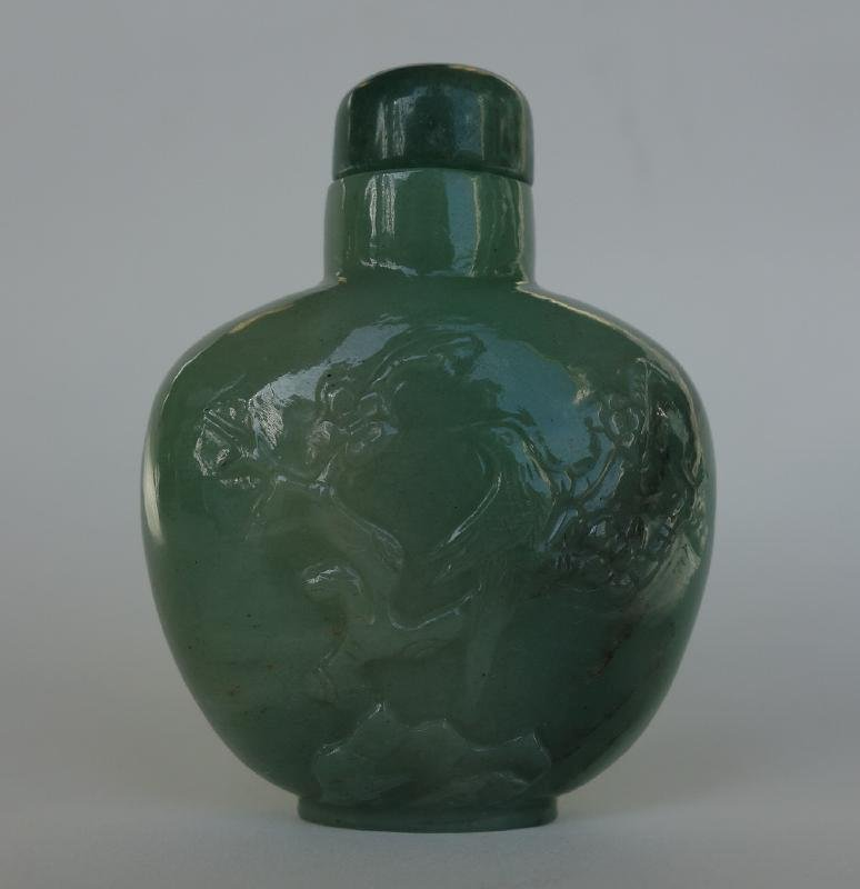 Chinese Carved Nephrite Jade Snuff Bottle