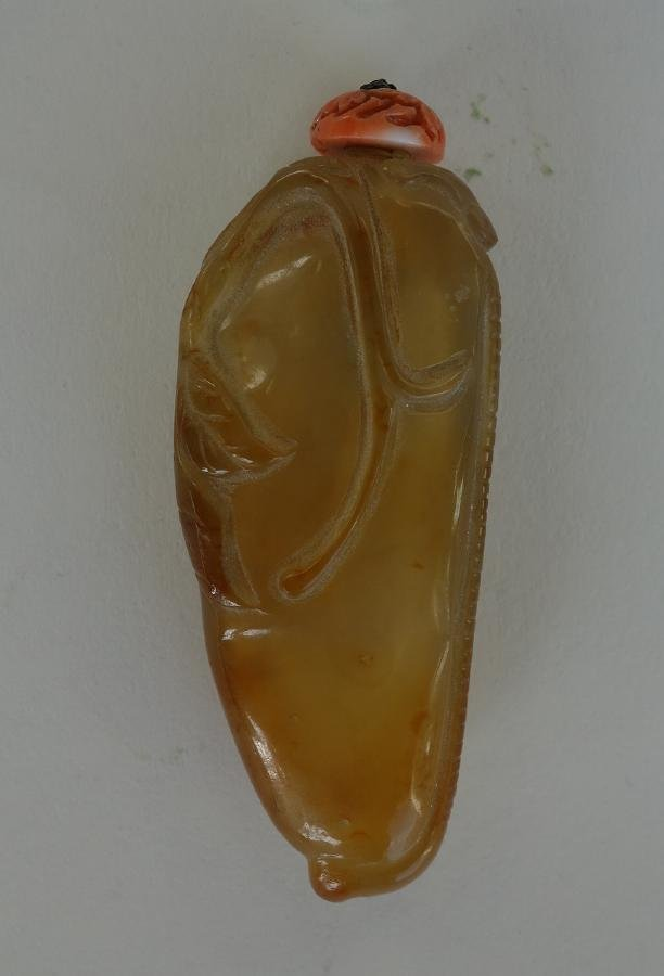 Chinese Carved Agate & Coral Snuff Bottle, Peapod