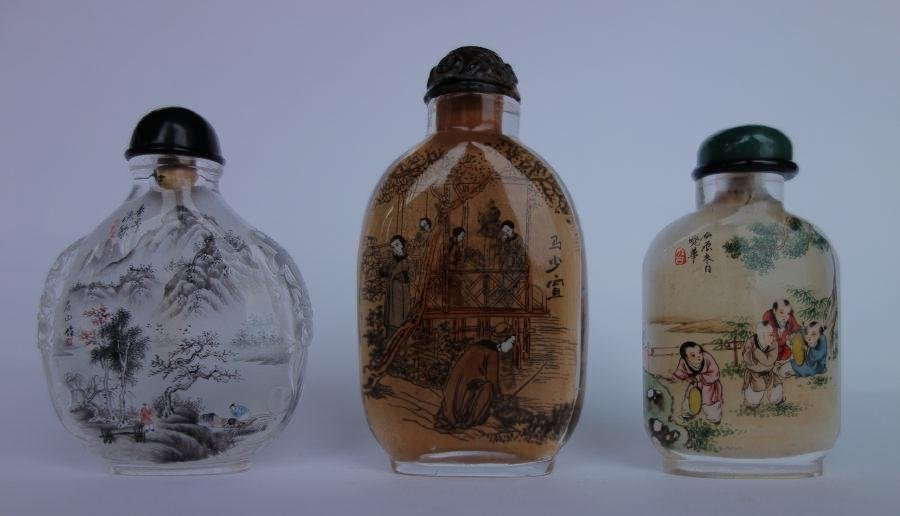 3 Chinese Inside Painted Snuff Bottles, Signed