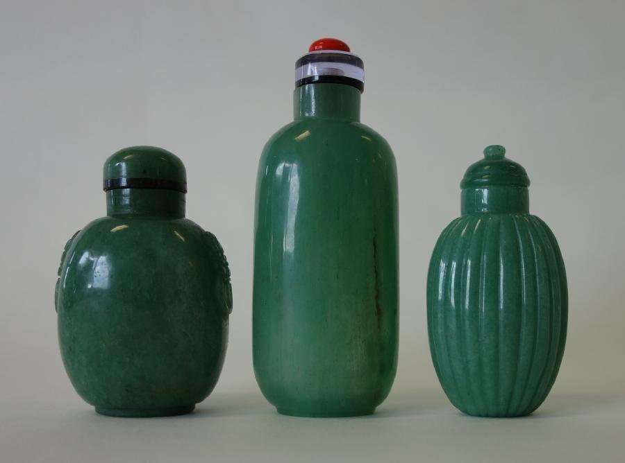 3 Chinese Green Jade Snuff Bottles